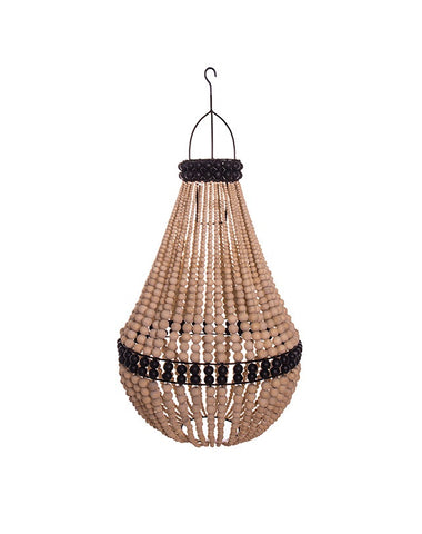 Tenda Wooden Bead Lamp Shade (Natural/Black stripe)