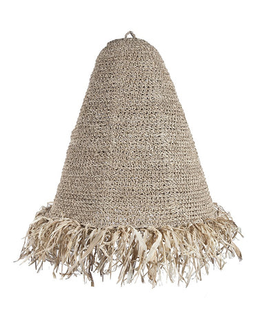 Raffia Fringed Pendant Natural (Large)