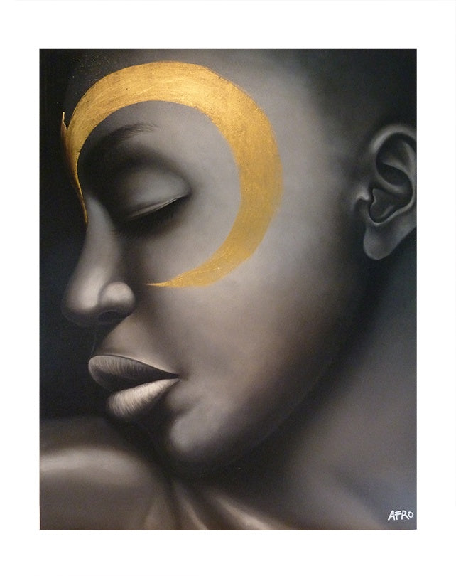African Face with Gold Crescent Paint