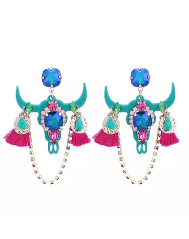 Acrylic Buffalo Skull w/Crystal & Tassels Earrings Turquoise