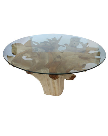 Teak Root Dining Table w/glass