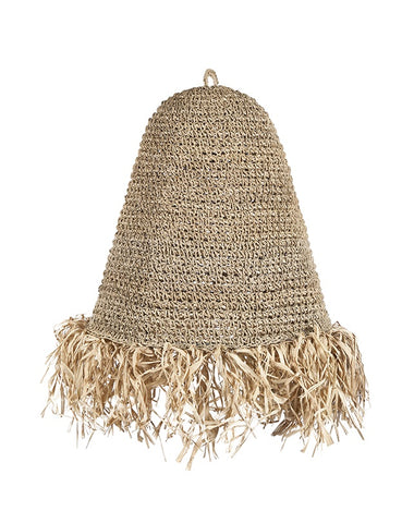 Raffia Fringed Pendant Natural (Small)