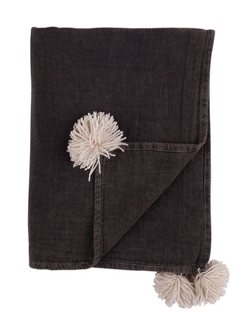 Charcoal Vintage Wash Throw With Tassel