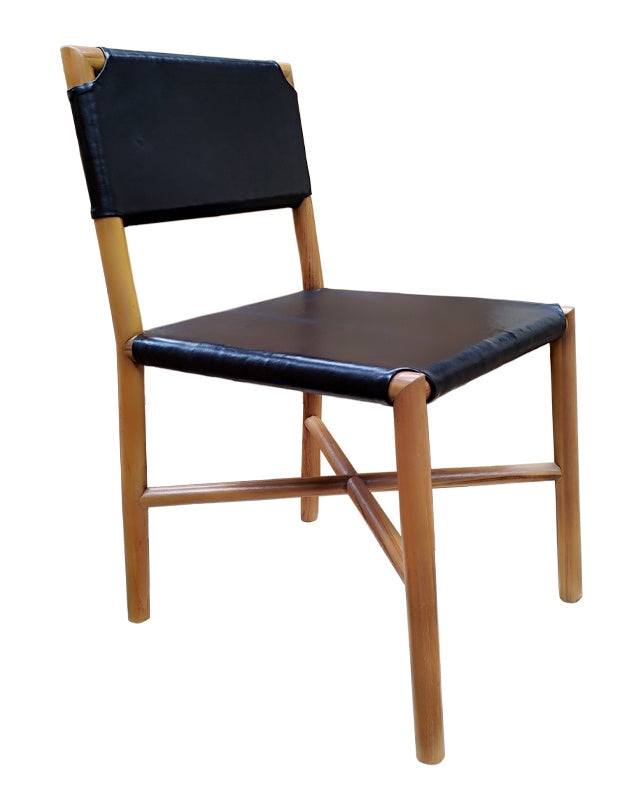 Seed Dining Chair (Teak/Flat Black Leather)