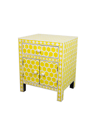 Bone Inlay Bedside - Honeycombe, Yellow