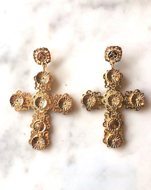 Diana Gold Cross Earrings