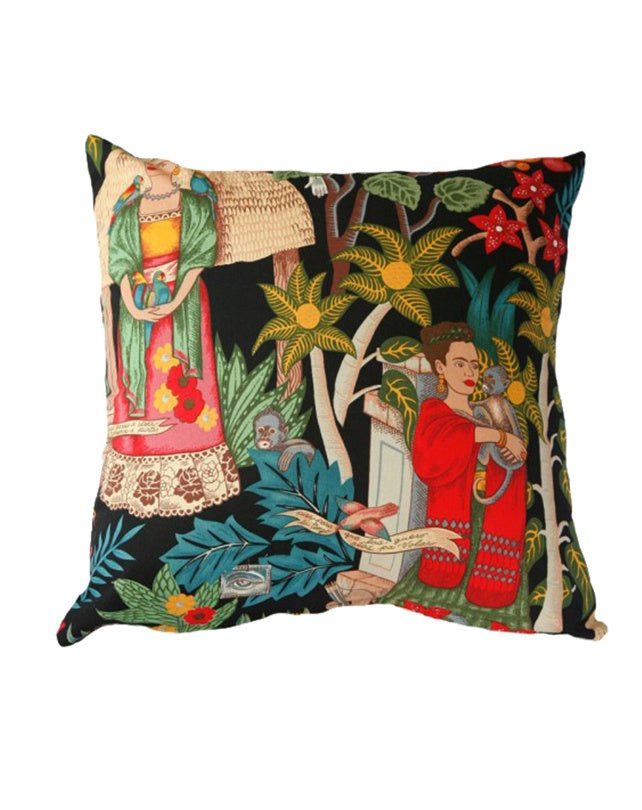Frida's Garden Cushion Black 50x50