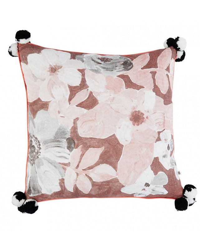 Painted Floral Cocoa Cushion 50x50