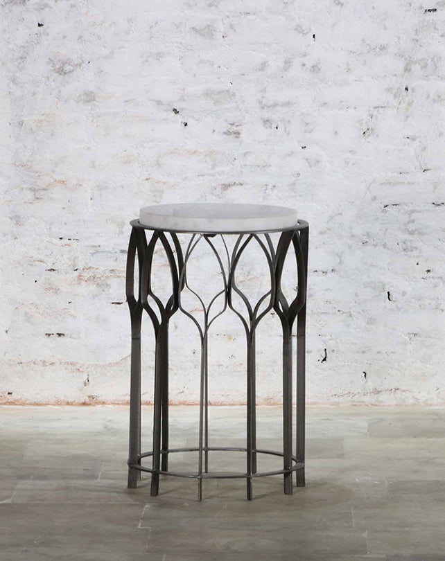 Almaty Side Table Zinc/White