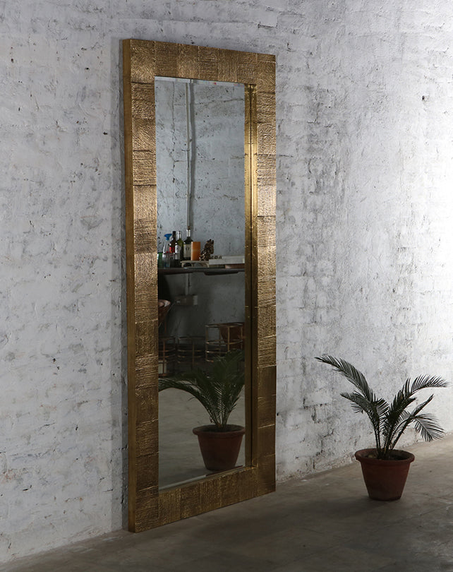 Antique Brass Foiled Mirror - Large