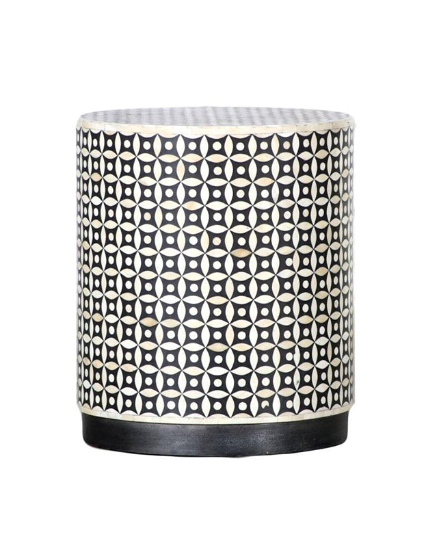 Bone Inlay Drum Side Table - Black/White