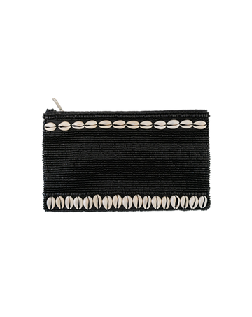 Black Beaded Purse With Cowrie Shells
