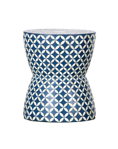 Blue & White Bone Inlay Stool