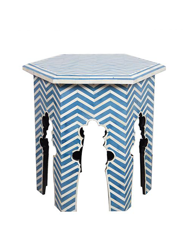 Bone Inlay Moroccan Side Table - Blue