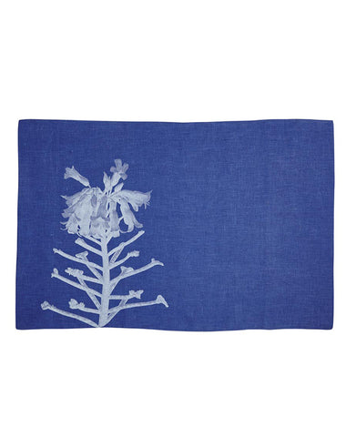 Cactus Flower Blue Linen Pillowslip - Pair
