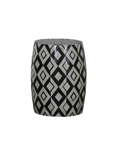 Diamond B&W Bone Inlay Side Table