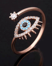 Adjustable Evil Eye Ring Rose Gold
