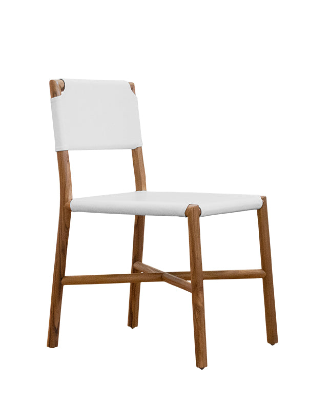Seed Dining Chair (Teak/Flat White Leather)