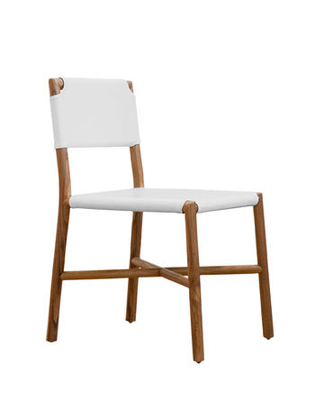 Seed Dining Chair (Teak/Strap White Leather)