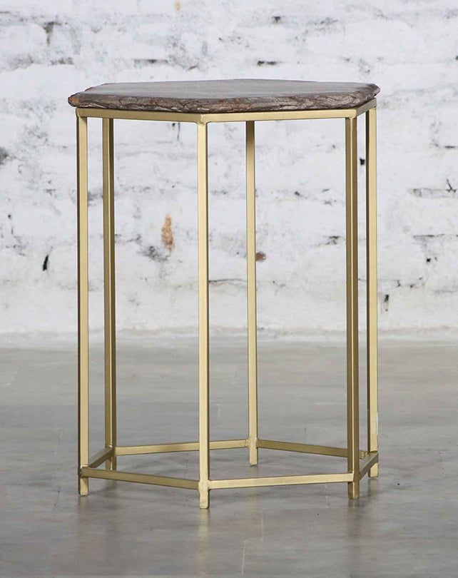 Hexagonal Marble Side Table