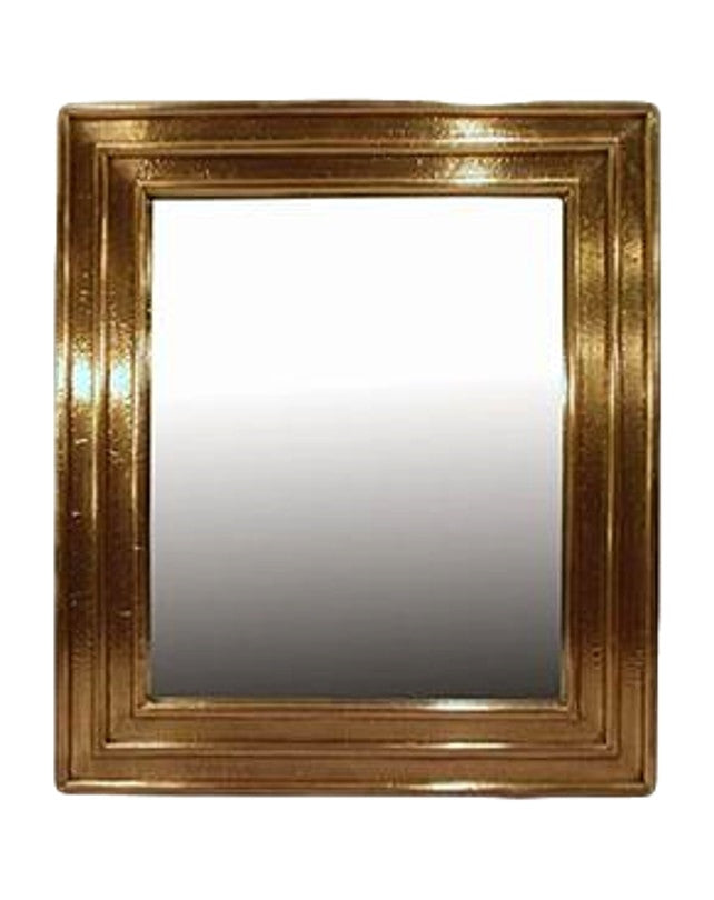 Ribbed Brass Square Mirror