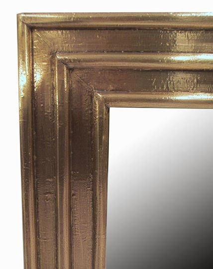 Ribbed Brass Small Mirror