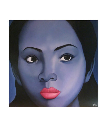 Oriental Girl Blue Face, Pink Lips