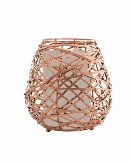 Copper Oval Wire Candle Holder (Large)