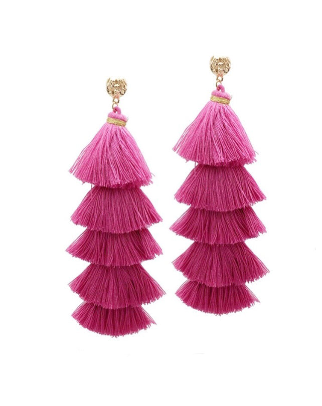 Pink Cotton Triple Tassel Earrings