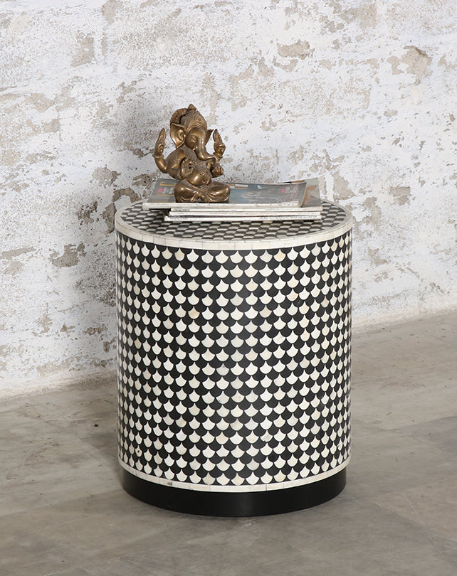 Scaled B&W Bone Inlay Drum Stool