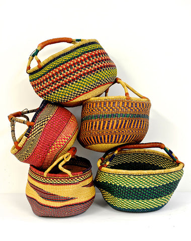 Ghanaian Round Basket - Short handle