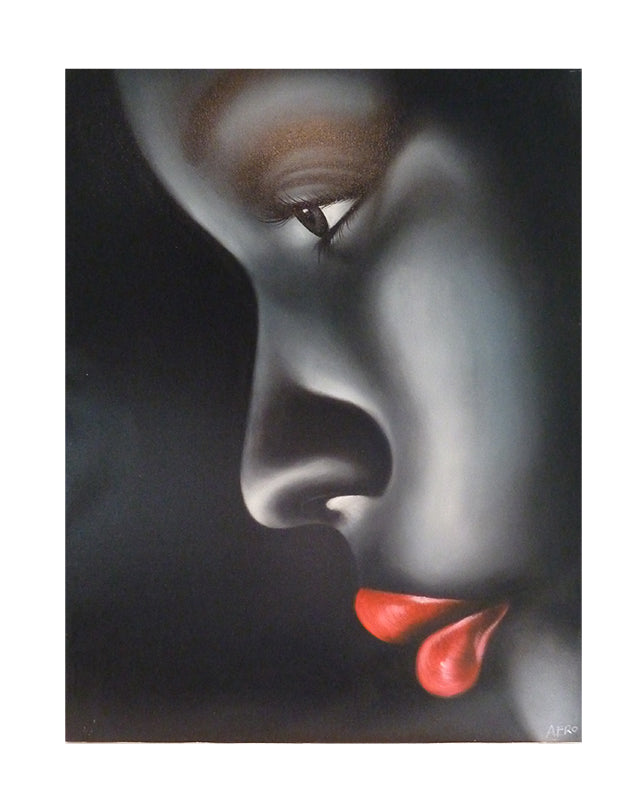 African Face with Red Lips
