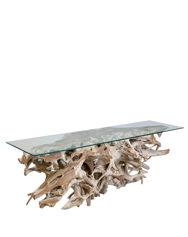 Teak Root Console w/Glass