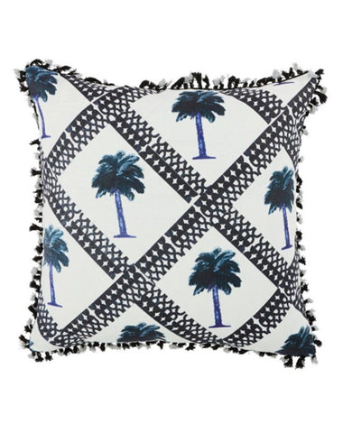 Tiny Palms Indigo Cushion 60x60