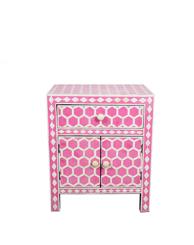 Bone Inlay Bedside - Honeycombe, Pink