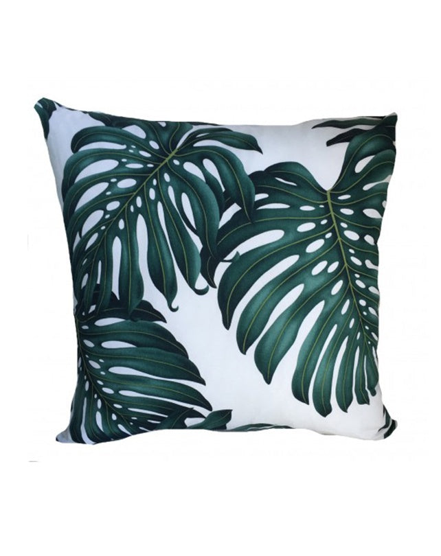 Monstera White Cushion 50x50