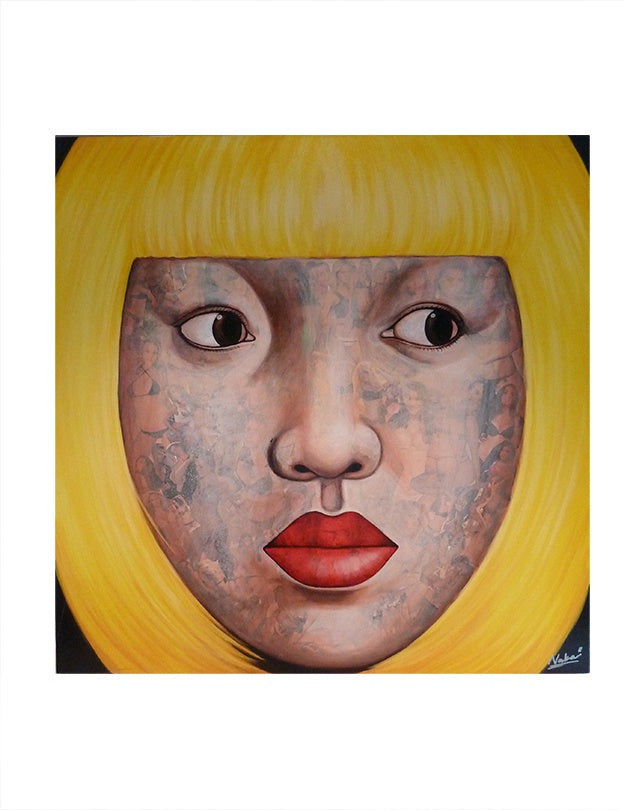 Oriental Girl with Yellow Bob and Pin-ups 120x120