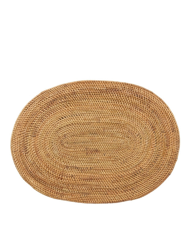 Smoked Rattan Placemat - Oval