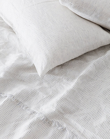 Linen Duvet Set - Blue Stripe