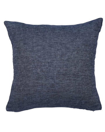 Halcyon Linen Cushion Navy with Herringbone 50x50