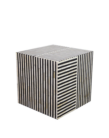 Bone Inlay B & W Stripe Side Table