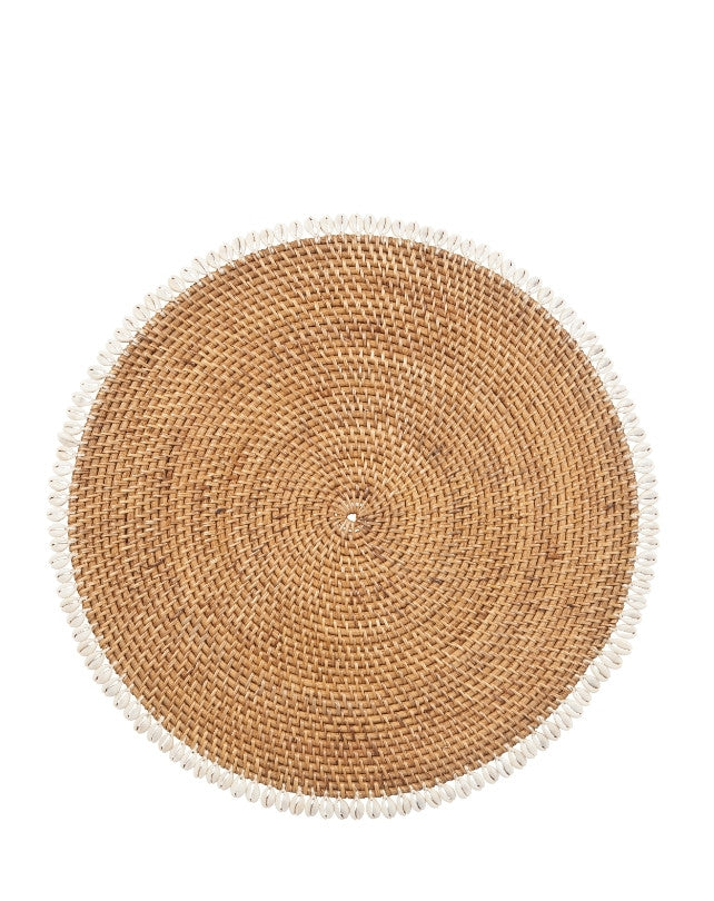 Smoked Rattan Placemat w/ Shell - Round