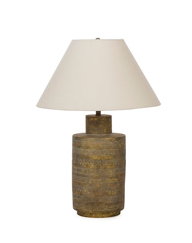 Ceramic Fez Lamp - Gold | Includes Lampshade