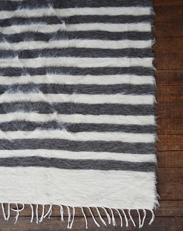 Hand Loomed Goat Hair Rug - Thin Grey/White Stripe