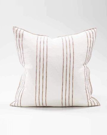 Rock Pool Linen Cushion - White/Natural Stripe 50x50