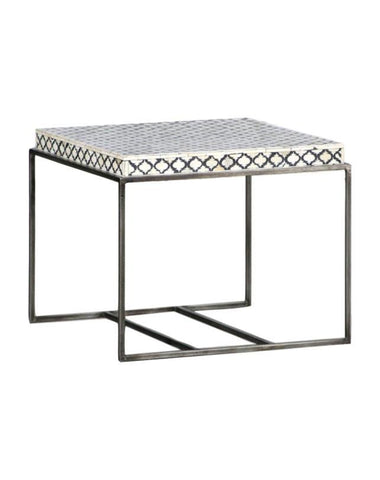 Mumtaz Bone Inlay Side Table - Black/White