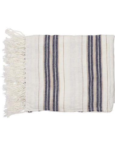 Oxford Throw 180x150 White Navy Natural