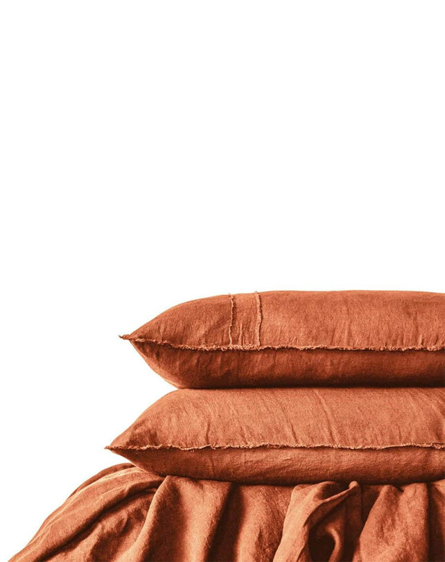 Linen Sheet Set with Freyed Edge- Tobacco