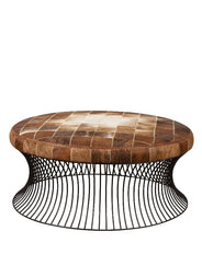 Cowhide Ottoman with Steel Base (1 mtr)
