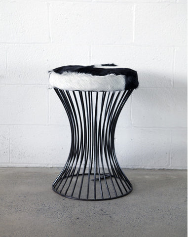 Metal stool - Goatskin
